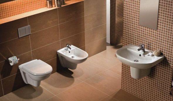 Ванная с подвесной сантехникой.
