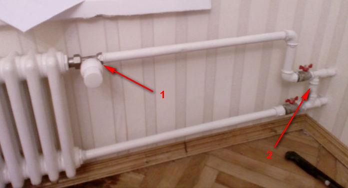В этом примере радиатор подключен не правильно.
