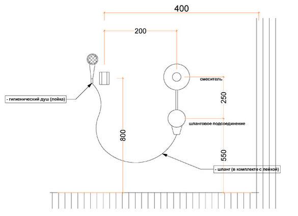 Схема подключения гигиенического душа.