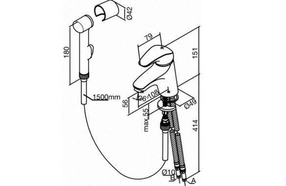 Схема подключения смесителя с гигиеническим душем.