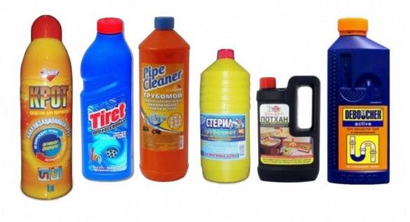 Химические средства для прочистки канализации.