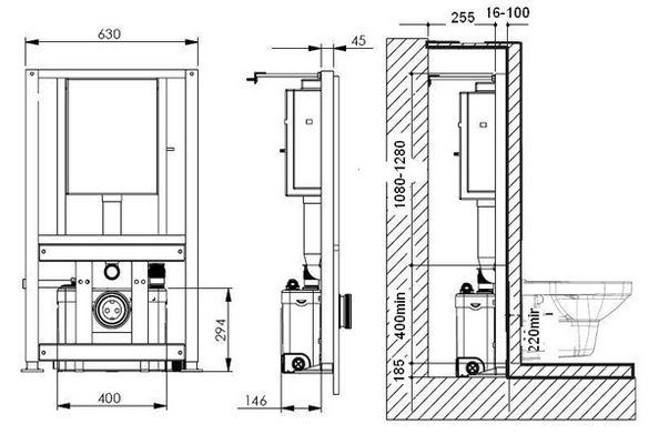 Санитарный насос для подвесного унитаза с инсталяциеей.