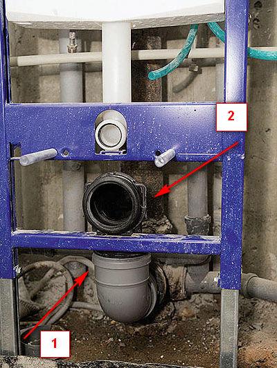 Подключение унитаза с инсталляцией к канализации.