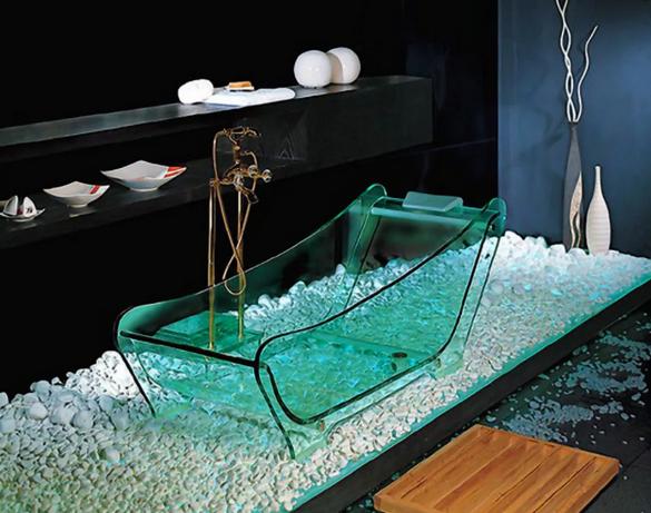 Стеклянная ванна в интерьере