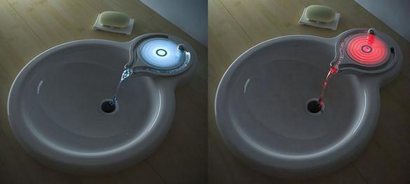 Раковина с подсветкой струи в зависимости от температуры.