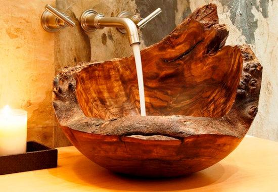 Раковина из деревянной коряги